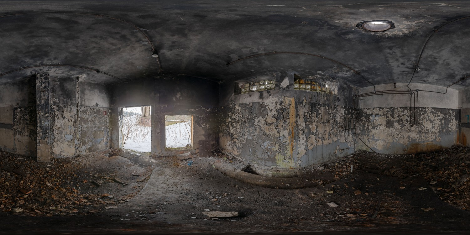 360 Hdri Panorama Of Abandoned Hospital In High 30k Resolution Winter Poland